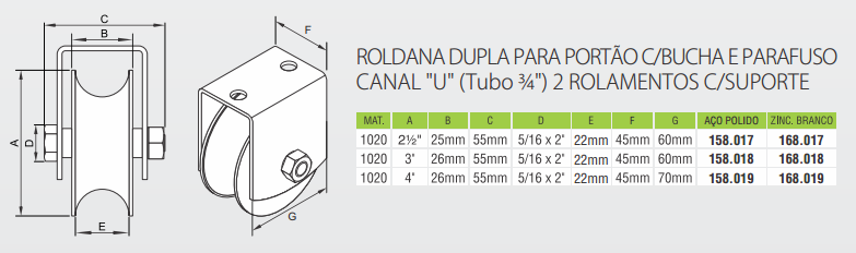 Roldana dupla para portão com bucha e parafuso canal U tubo 34 2 rolamentos com suporte - Severo