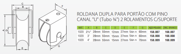 Roldana dupla para portão com pino canal U tubo 34 2 rolamentos com suporte - Severo